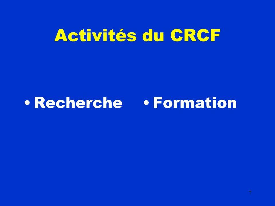 7 Activités du CRCF RechercheFormation