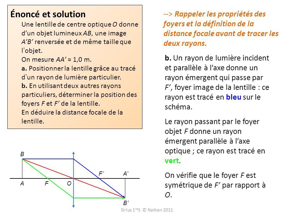 Énoncé et solution Une lentille de centre optique O donne dun objet lumineux AB, une image AB renversée et de même taille que l objet. On mesure AA =
