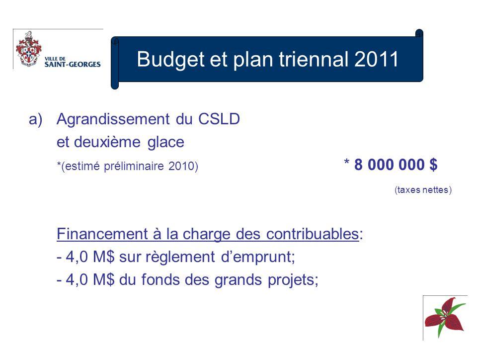 a)Agrandissement du CSLD et deuxième glace *(estimé préliminaire 2010) * 8 000 000 $ (taxes nettes) Financement à la charge des contribuables: - 4,0 M$ sur règlement demprunt; - 4,0 M$ du fonds des grands projets; Budget et plan triennal 2011