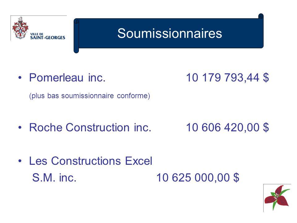c) Coût final Soumission10 179 793 $ Honoraires professionnels 427 219 10 607 012 - Récupération TPS (465 526) - Récupération TVQ (830 934) 9 310 552 Œuvre dart (exigence gouvernementale) 70 000 Coût net 9 400 000 $ Financement: 2,0 M$ sur règlement demprunt 2,4 M$ payés comptant du fonds des grands projets 3,5 M$ subvention PIQM 1,5 M$ participation du privé (Canam – Manac) 9,4 M$ Coût réel et financement bonifié
