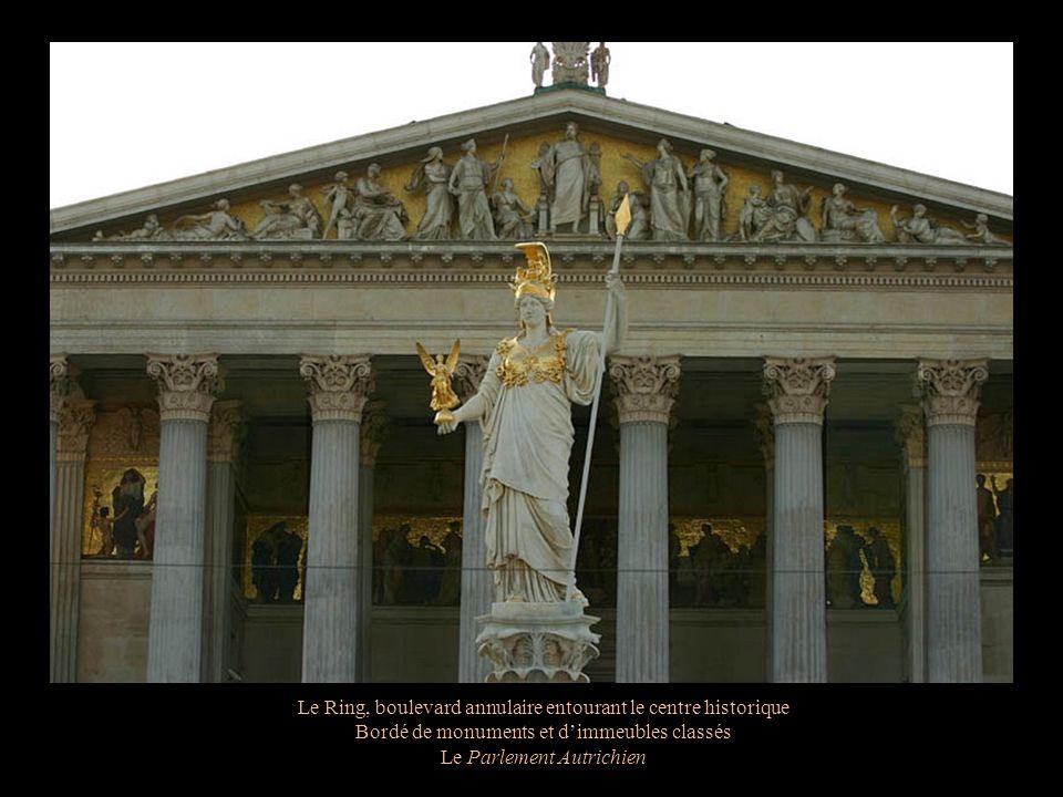 Le Ring, boulevard annulaire entourant le centre historique Bordé de monuments et dimmeubles classés Le Parlement Autrichien
