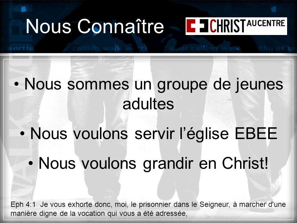 Nous Connaître Nous sommes un groupe de jeunes adultes Nous voulons servir léglise EBEE Nous voulons grandir en Christ.