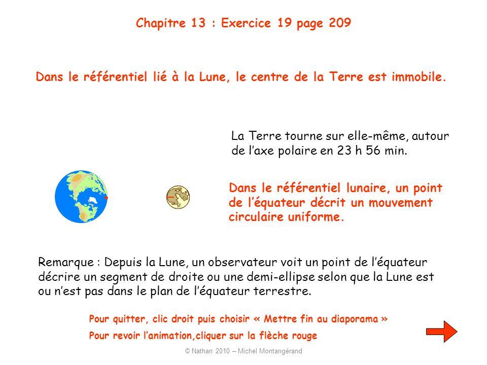 Chapitre 13 : Exercice 19 page 209 La Terre tourne sur elle-même, autour de laxe polaire en 23 h 56 min. Pour quitter, clic droit puis choisir « Mettr