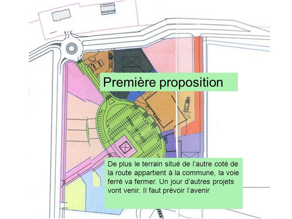 Première proposition De plus le terrain situé de lautre coté de la route appartient à la commune, la voie ferré va fermer. Un jour dautres projets von