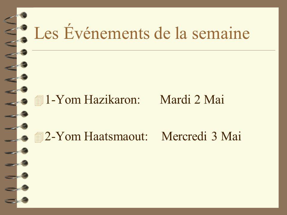 Les Événements de la semaine 4 1-Yom Hazikaron: Mardi 2 Mai 4 2-Yom Haatsmaout: Mercredi 3 Mai