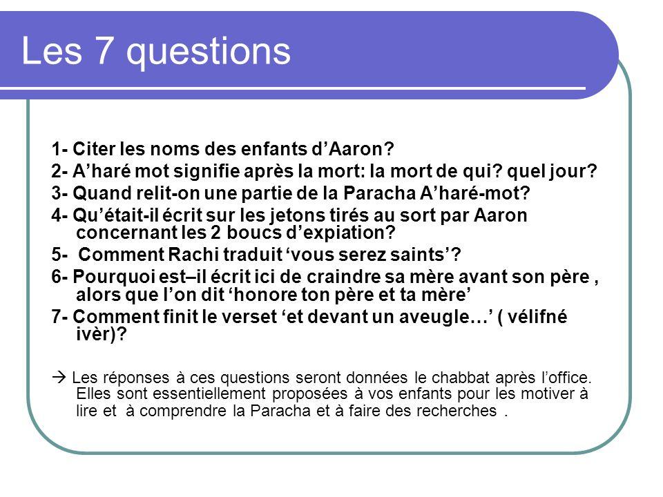 Les 7 questions 1- Citer les noms des enfants dAaron? 2- Aharé mot signifie après la mort: la mort de qui? quel jour? 3- Quand relit-on une partie de