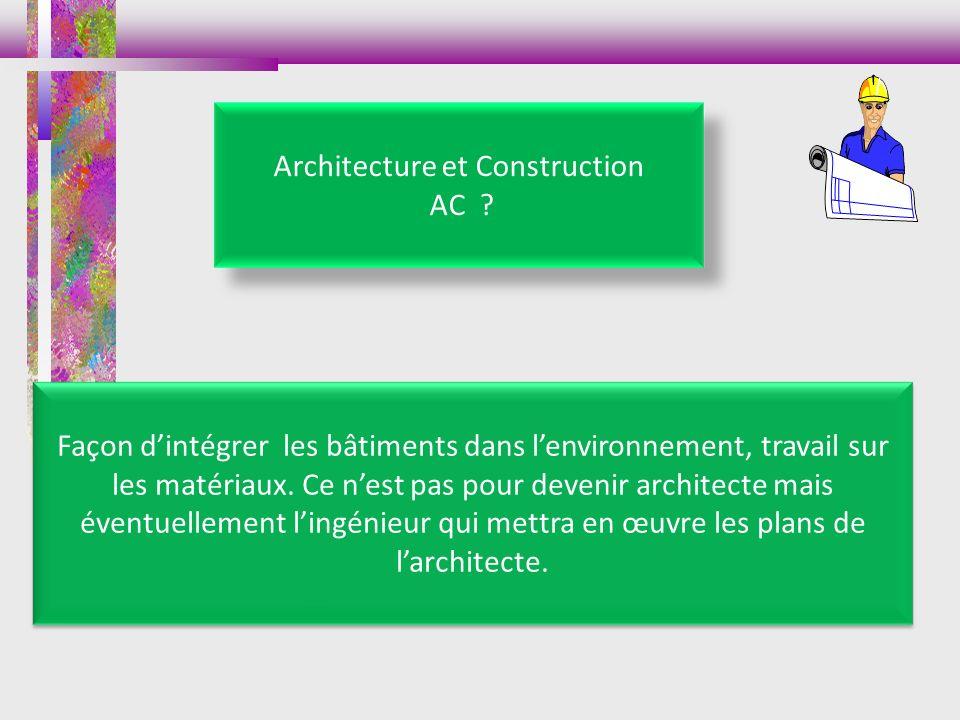 Architecture et Construction AC ? Façon dintégrer les bâtiments dans lenvironnement, travail sur les matériaux. Ce nest pas pour devenir architecte ma
