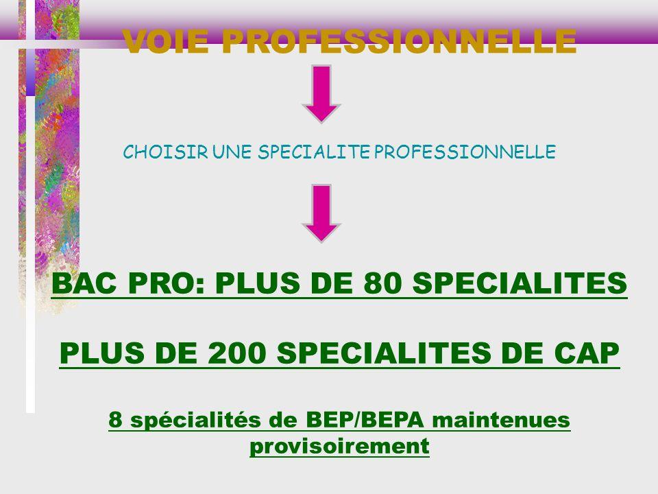VOIE PROFESSIONNELLE CHOISIR UNE SPECIALITE PROFESSIONNELLE BAC PRO: PLUS DE 80 SPECIALITES PLUS DE 200 SPECIALITES DE CAP 8 spécialités de BEP/BEPA maintenues provisoirement