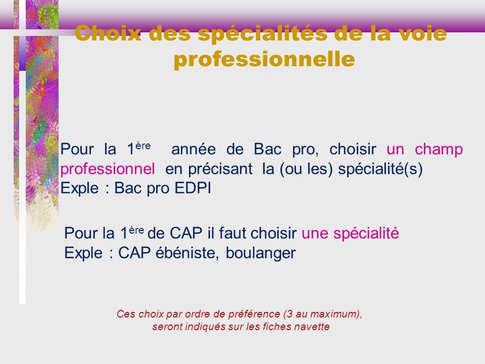 Ces choix par ordre de préférence (3 au maximum), seront indiqués sur les fiches navette Choix des spécialités de la voie professionnelle Pour la 1 èr