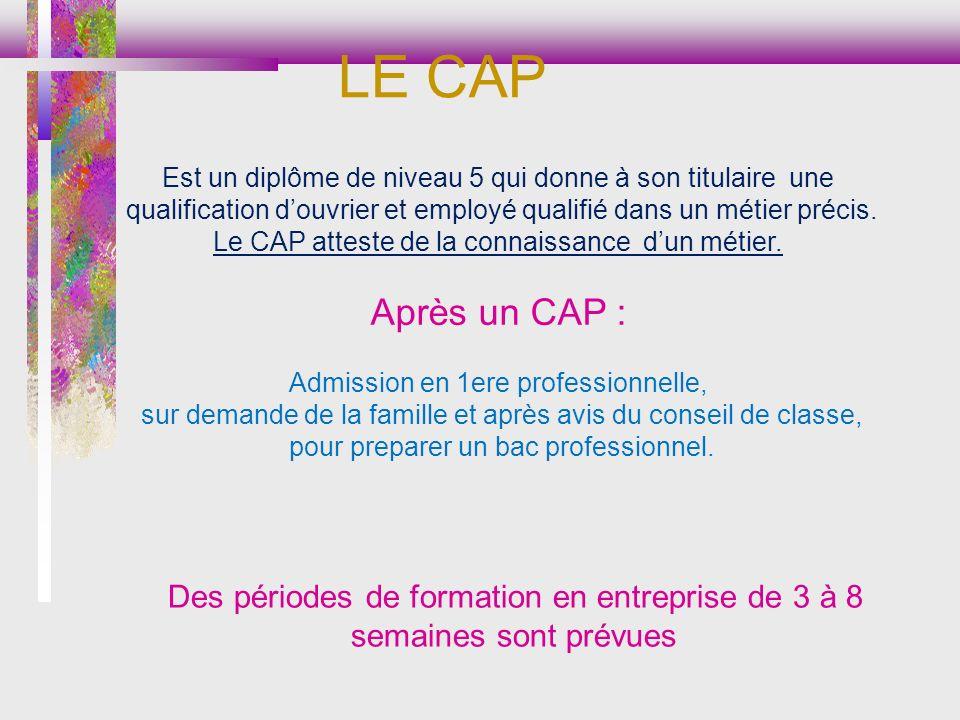 LE CAP Des périodes de formation en entreprise de 3 à 8 semaines sont prévues Est un diplôme de niveau 5 qui donne à son titulaire une qualification douvrier et employé qualifié dans un métier précis.