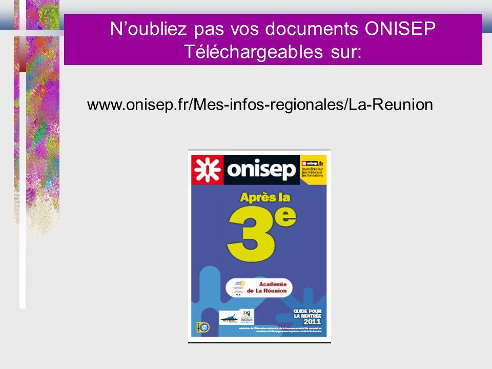 www.onisep.fr/Mes-infos-regionales/La-Reunion Noubliez pas vos documents ONISEP Téléchargeables sur: