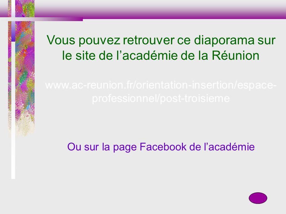 Vous pouvez retrouver ce diaporama sur le site de lacadémie de la Réunion www.ac-reunion.fr/orientation-insertion/espace- professionnel/post-troisieme Ou sur la page Facebook de lacadémie