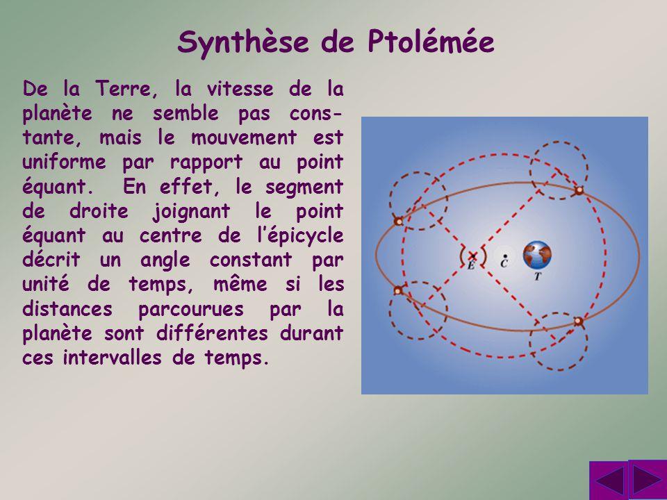 Synthèse de Ptolémée De la Terre, la vitesse de la planète ne semble pas cons- tante, mais le mouvement est uniforme par rapport au point équant. En e