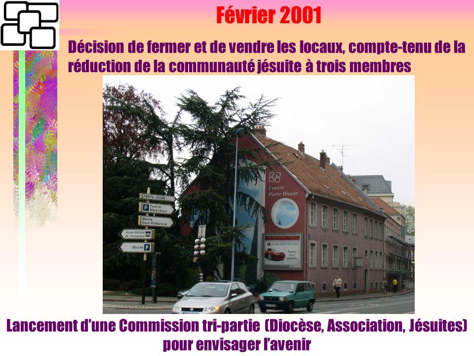 Février 2001 Décision de fermer et de vendre les locaux, compte-tenu de la réduction de la communauté jésuite à trois membres Lancement dune Commission tri-partie (Diocèse, Association, Jésuites) pour envisager lavenir