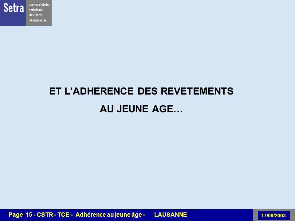 00/00/2001 Page 15 - Centre - Unité - Titre de la Présentation 17/09/2003 Page 15 - CSTR - TCE - Adhérence au jeune âge - LAUSANNE ET LADHERENCE DES REVETEMENTS AU JEUNE AGE…