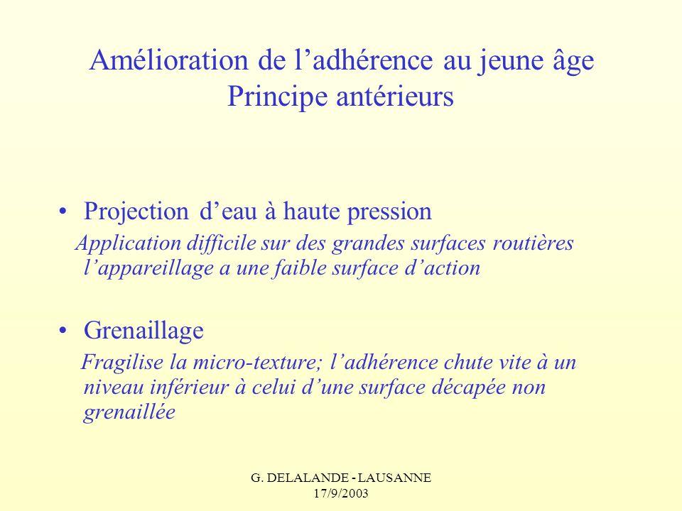 G. DELALANDE - LAUSANNE 17/9/2003 Amélioration de ladhérence au jeune âge Principe antérieurs Projection deau à haute pression Application difficile s