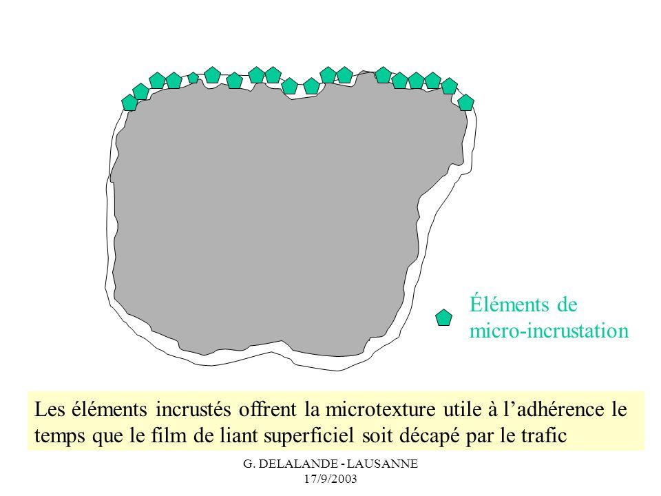 G. DELALANDE - LAUSANNE 17/9/2003 Éléments de micro-incrustation Les éléments incrustés offrent la microtexture utile à ladhérence le temps que le fil