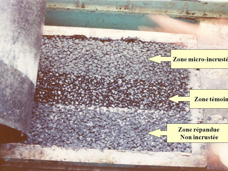 Zone témoin Zone micro-incrustée Zone répandue Non incrustée