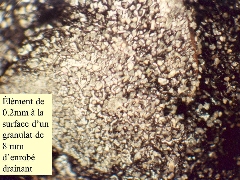 Élément de 0.2mm à la surface dun granulat de 8 mm denrobé drainant