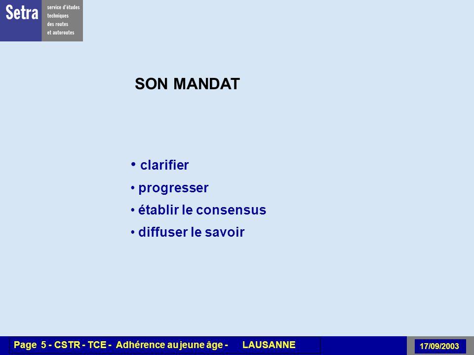 00/00/2001 Page 5 - Centre - Unité - Titre de la Présentation 17/09/2003 Page 5 - CSTR - TCE - Adhérence au jeune âge - LAUSANNE SON MANDAT clarifier
