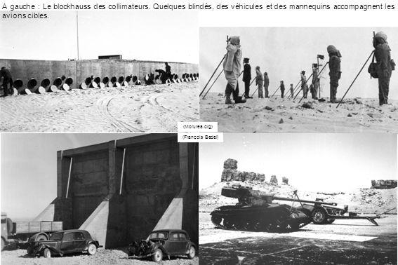 A gauche : Le blockhauss des collimateurs. Quelques blindés, des véhicules et des mannequins accompagnent les avions cibles. (François Bedei) (Morurea