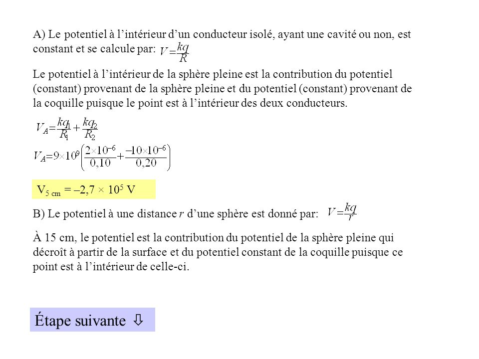 A) Le potentiel à lintérieur dun conducteur isolé, ayant une cavité ou non, est constant et se calcule par: Le potentiel à lintérieur de la sphère ple