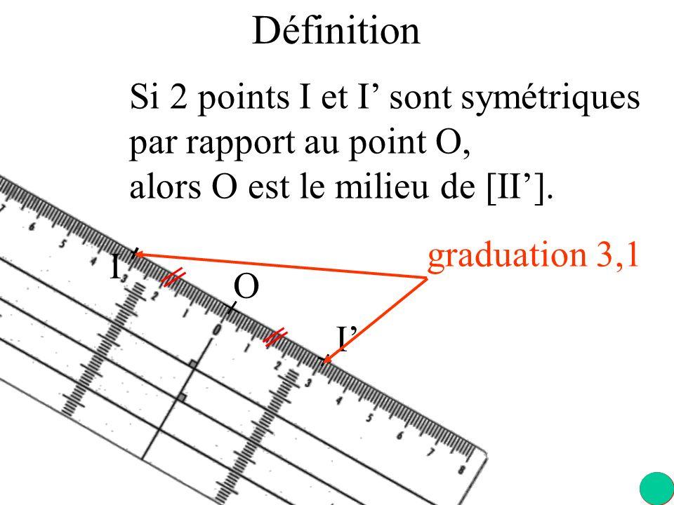 I I Si 2 points I et I sont symétriques par rapport au point O, alors O est le milieu de [II].