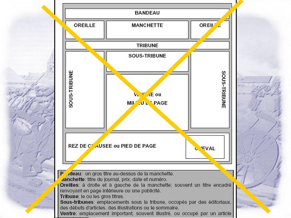 La « Une » Cest la vitrine du journal ! On entre dans le journal par le visuel ! Il faut 5 arrêts (points daccroche) dans une page pour « accrocher »