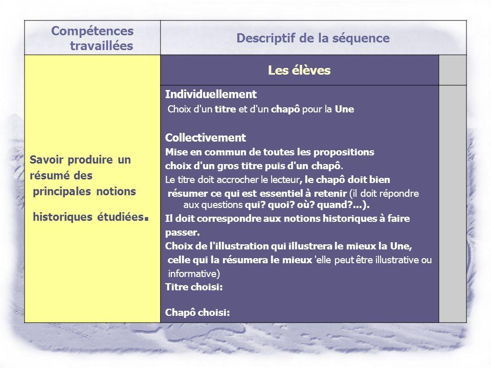 Compétences travaillées Descriptif de la séquence Écrire une synthèse à partir des réponses aux questions (1er jet) Orthographier un texte simple lors