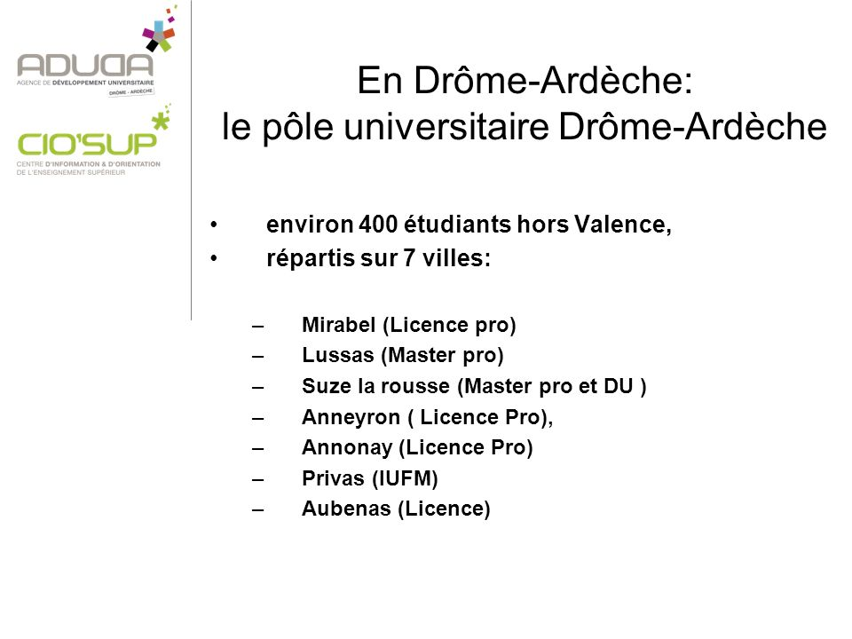 En Drôme-Ardèche: le pôle universitaire Drôme-Ardèche environ 400 étudiants hors Valence, répartis sur 7 villes: –Mirabel (Licence pro) –Lussas (Master pro) –Suze la rousse (Master pro et DU ) –Anneyron ( Licence Pro), –Annonay (Licence Pro) –Privas (IUFM) –Aubenas (Licence)