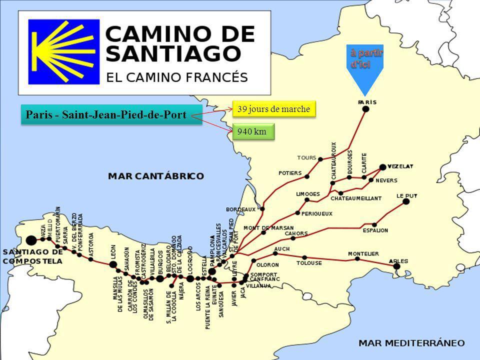 Paris - Saint-Jean-Pied-de-Port 39 jours de marche 940 km