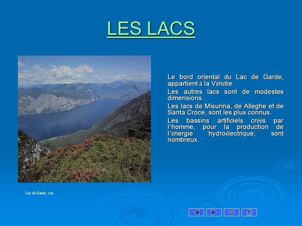 LES LACS LES LACS Le bord oriental du Lac de Garde, appartient à la V é n é tie. Les autres lacs sont de modestes dimensions. Les autres lacs sont de