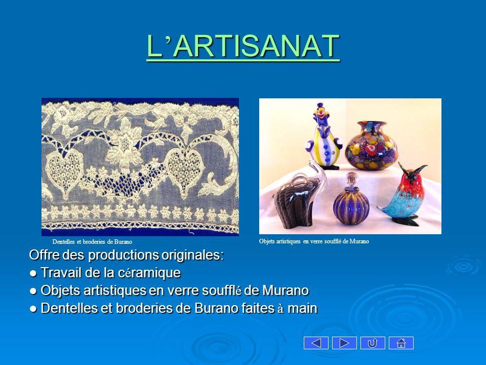 L ARTISANAT L ARTISANAT Offre des productions originales: Travail de la c é ramique Travail de la c é ramique Objets artistiques en verre souffl é de