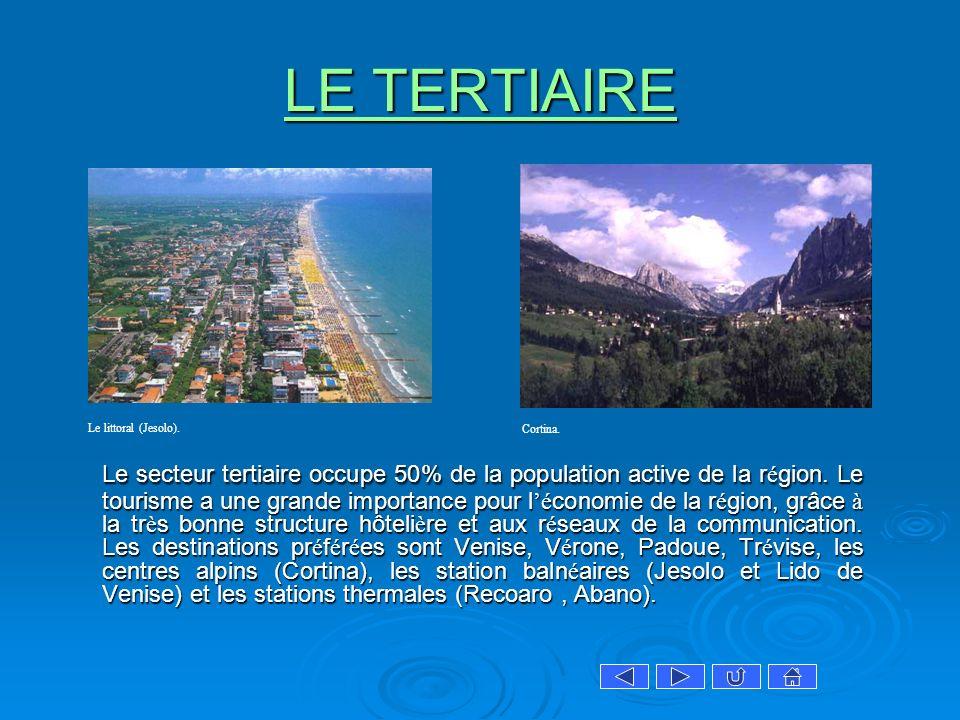 LE TERTIAIRE LE TERTIAIRE Le secteur tertiaire occupe 50% de la population active de la r é gion. Le tourisme a une grande importance pour l é conomie