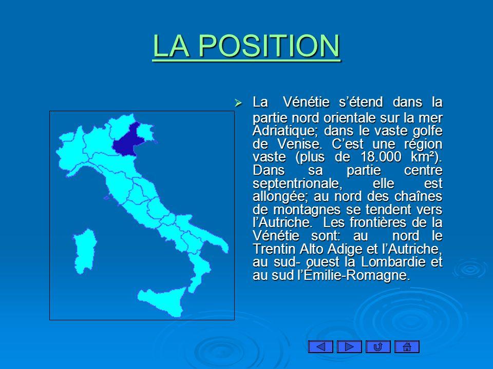 LA POSITION LA POSITION La Vénétie sétend dans la partie nord orientale sur la mer Adriatique; dans le vaste golfe de Venise. Cest une région vaste (p