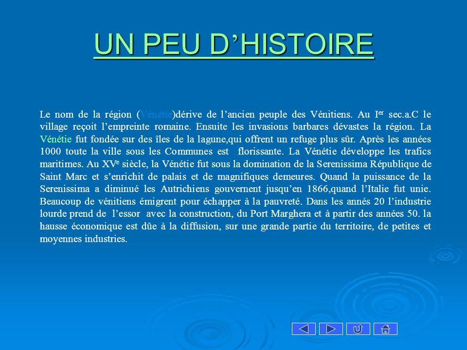 UN PEU D HISTOIRE UN PEU D HISTOIRE Le nom de la région (Vénétie)dérive de lancien peuple des Vénitiens. Au I er sec.a.C le village reçoit lempreinte