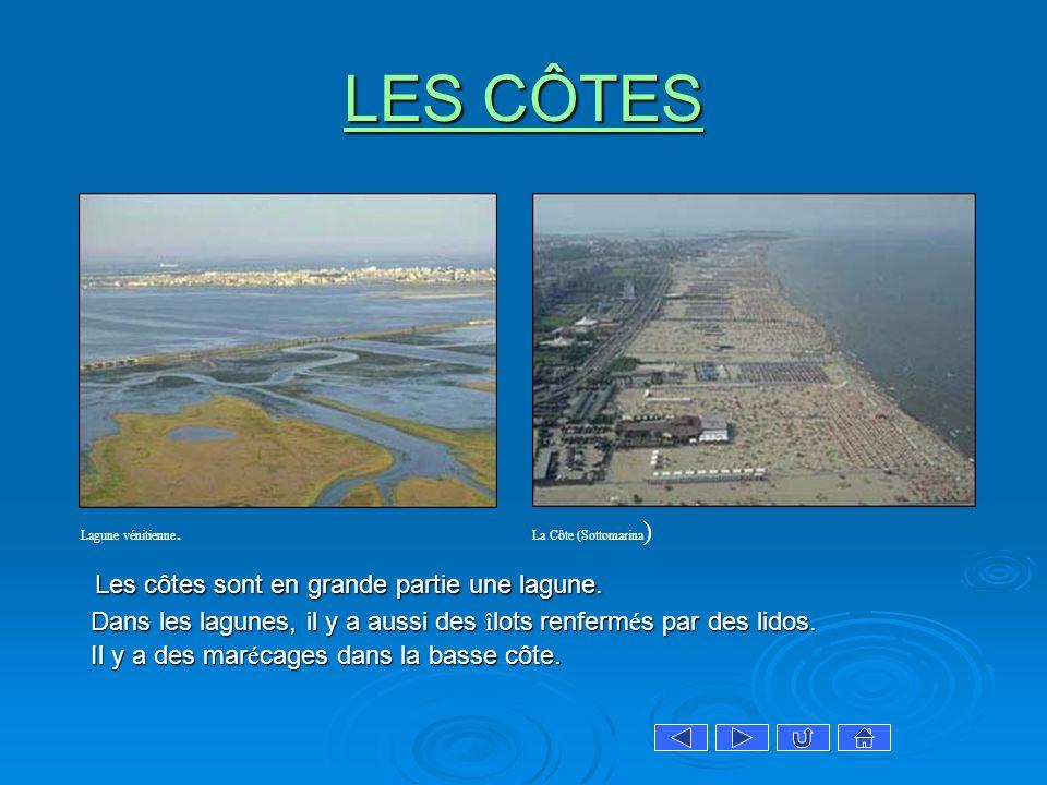 LES CÔTES LES CÔTES Les côtes sont en grande partie une lagune. Les côtes sont en grande partie une lagune. Dans les lagunes, il y a aussi des î lots