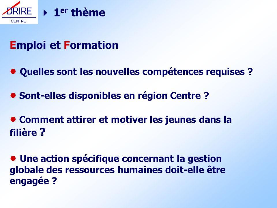 1 er thème Emploi et Formation Quelles sont les nouvelles compétences requises ? Sont-elles disponibles en région Centre ? Comment attirer et motiver