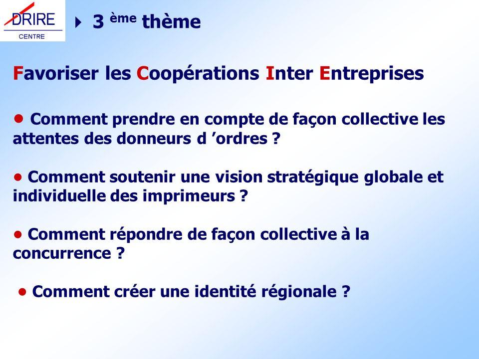 3 ème thème Favoriser les Coopérations Inter Entreprises Comment prendre en compte de façon collective les attentes des donneurs d ordres ? Comment so