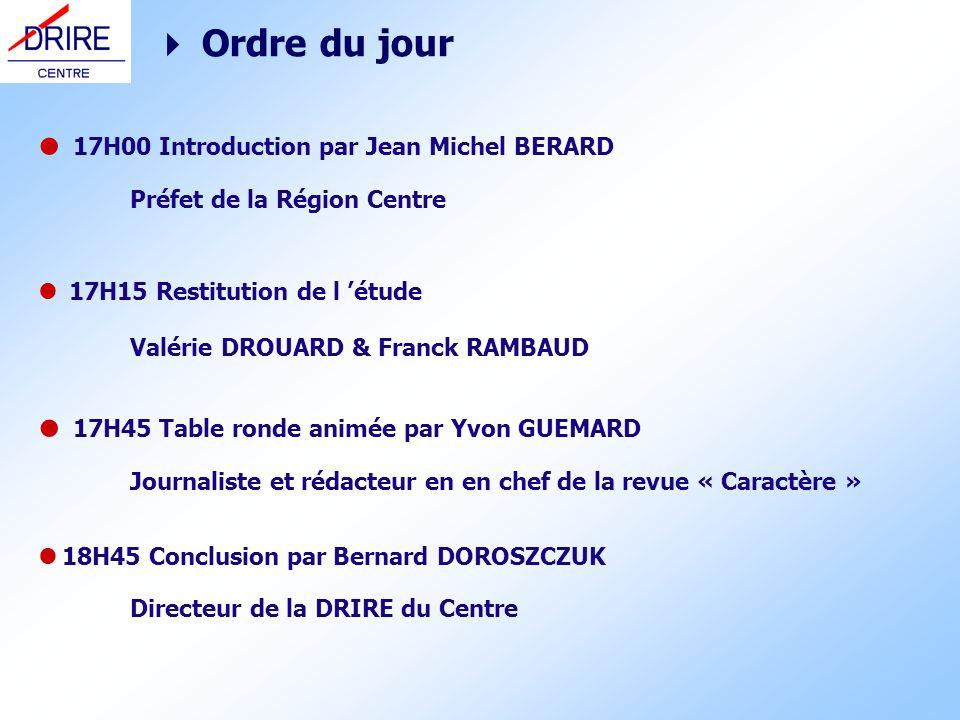 Ordre du jour 17H00 Introduction par Jean Michel BERARD Préfet de la Région Centre 17H15 Restitution de l étude Valérie DROUARD & Franck RAMBAUD 17H45