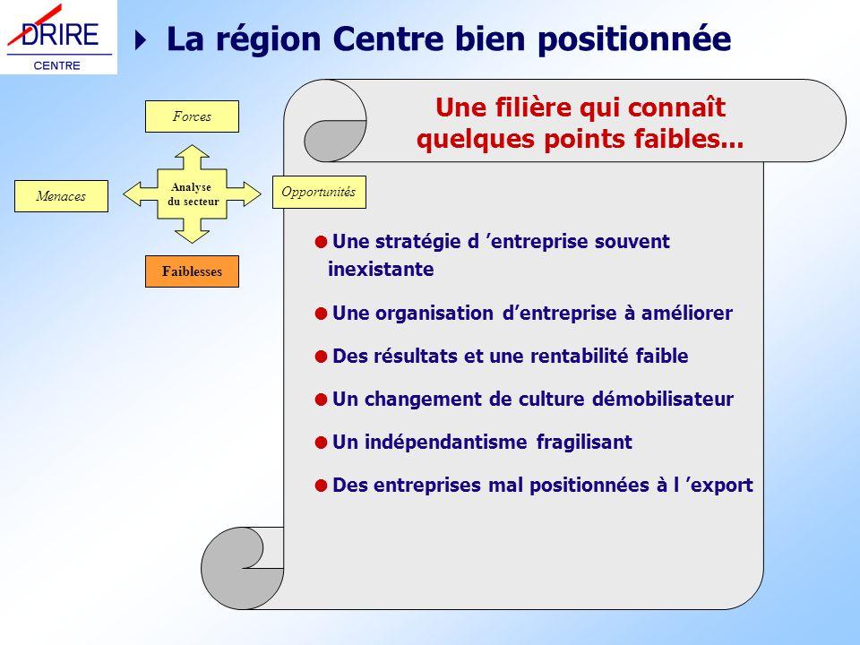 Une filière qui connaît quelques points faibles... La région Centre bien positionnée Une stratégie d entreprise souvent inexistante Une organisation d