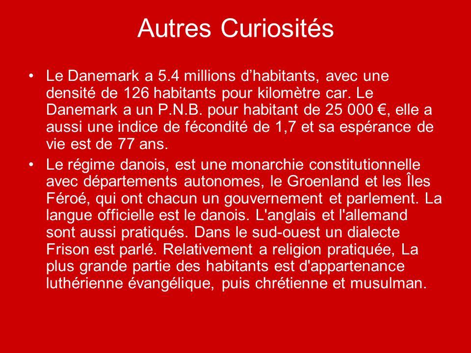 Autres Curiosités Le Danemark a 5.4 millions dhabitants, avec une densité de 126 habitants pour kilomètre car. Le Danemark a un P.N.B. pour habitant d