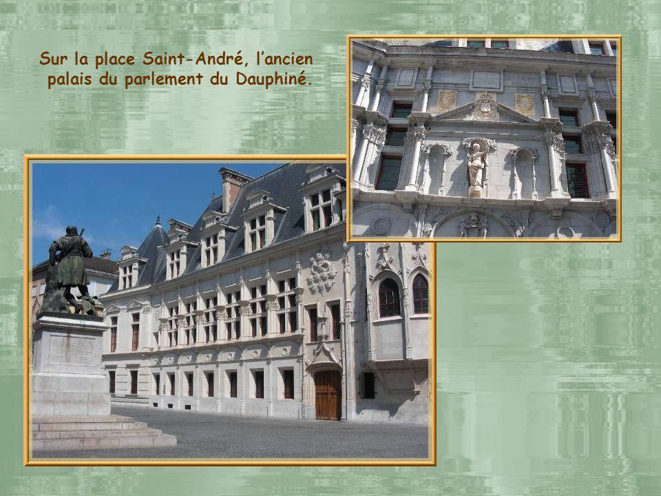 Collégiale Saint-André et statue en lhonneur du chevalier Bayard.