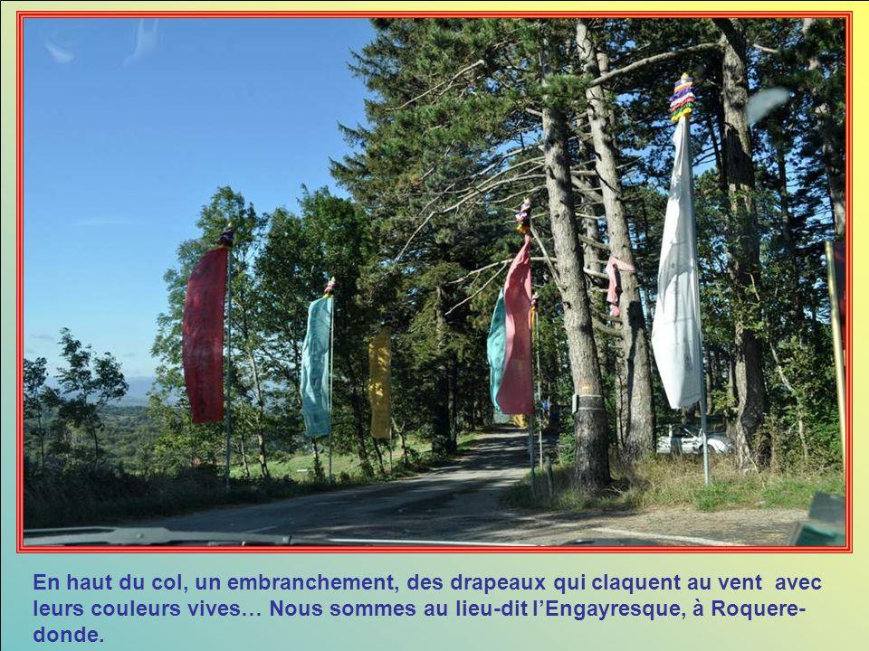 En haut du col, un embranchement, des drapeaux qui claquent au vent avec leurs couleurs vives… Nous sommes au lieu-dit lEngayresque, à Roquere- donde.