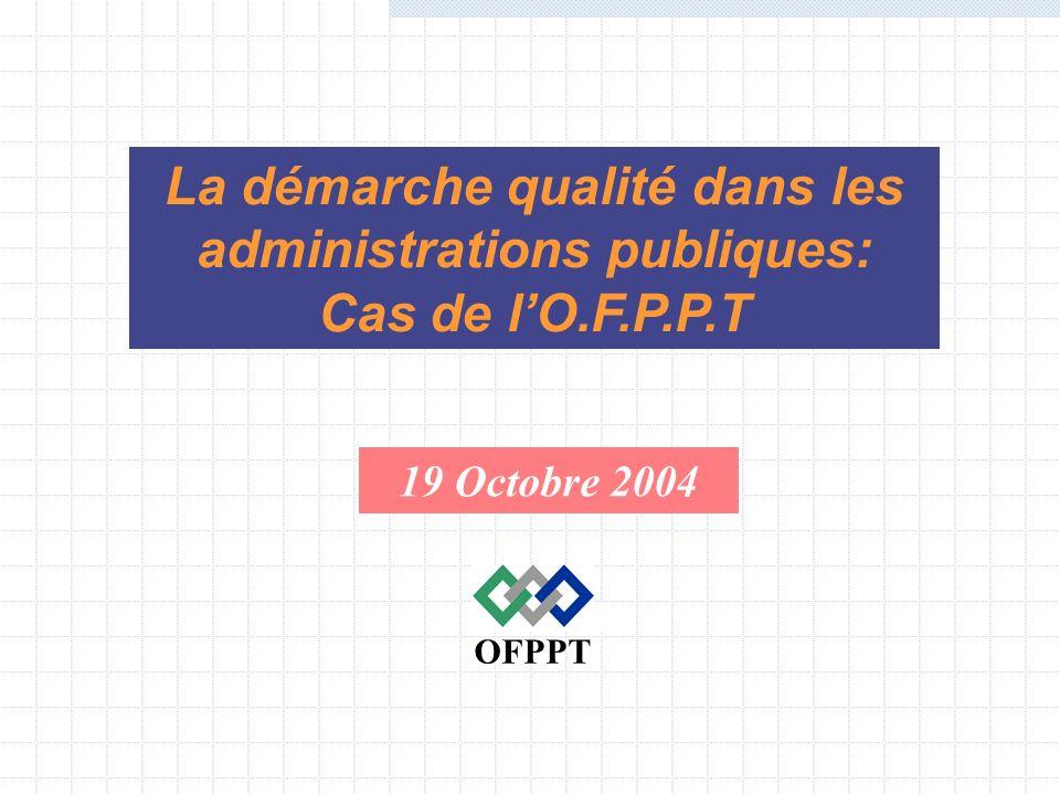 19 Octobre 2004 OFPPT La démarche qualité dans les administrations publiques: Cas de lO.F.P.P.T
