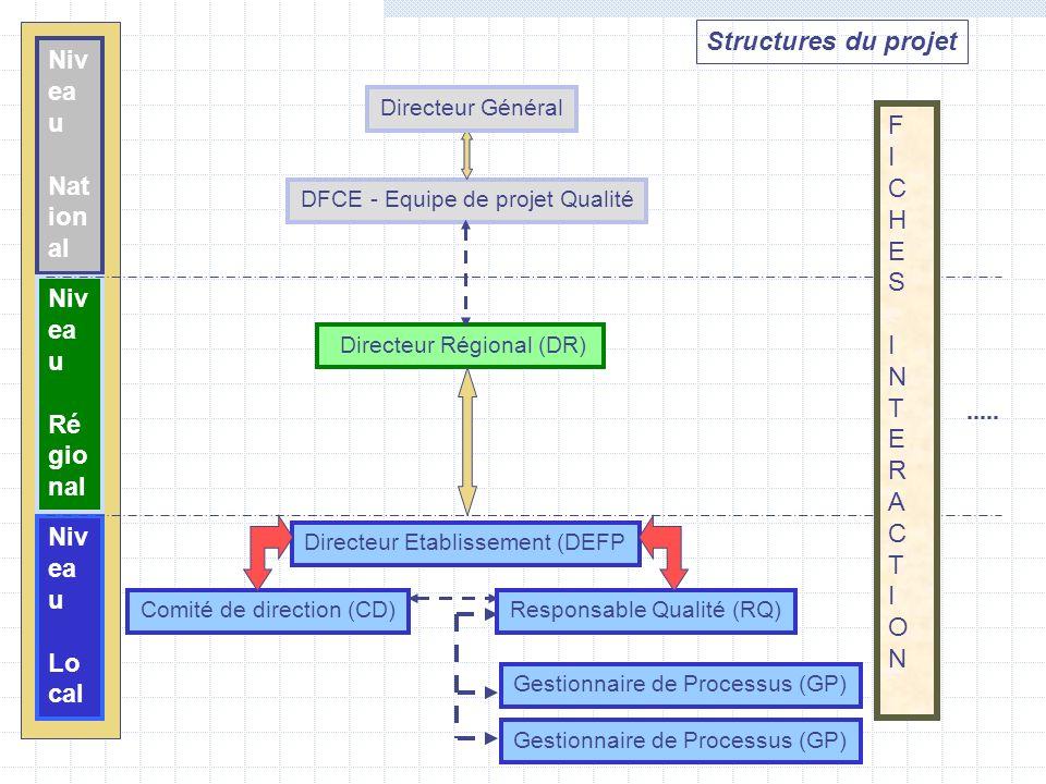 Structures du projet Niv ea u Nat ion al Niv ea u Ré gio nal Niv ea u Lo cal DFCE - Equipe de projet Qualité Directeur Régional (DR) Directeur Etablis