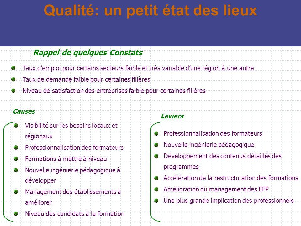 Démarche Etude de faisabilité; Certification de 3 EFP pilote; Certification dun EFP par région; Généralisation.
