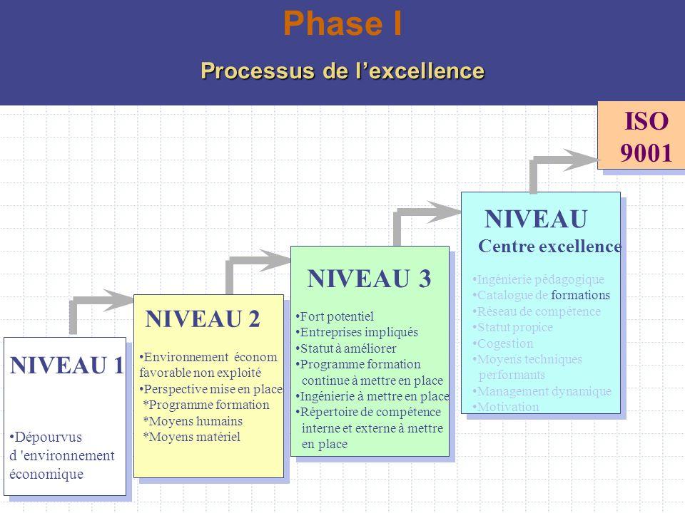 NIVEAU 1 Dépourvus d 'environnement économique Environnement économ favorable non exploité Perspective mise en place *Programme formation *Moyens huma
