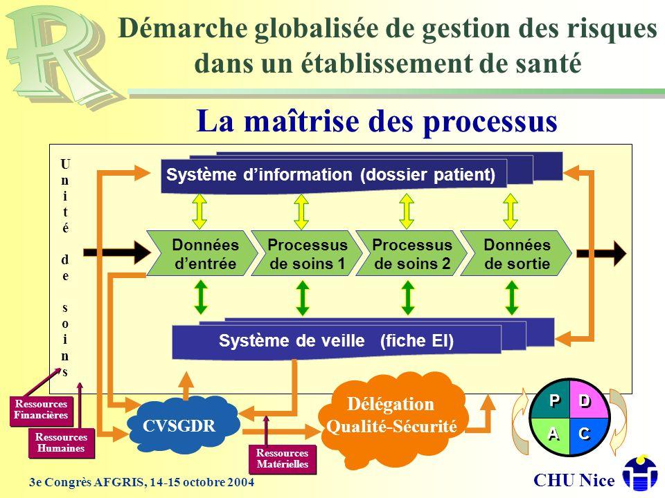 CHU Nice 3e Congrès AFGRIS, 14-15 octobre 2004 La maîtrise des processus Démarche globalisée de gestion des risques dans un établissement de santé Don