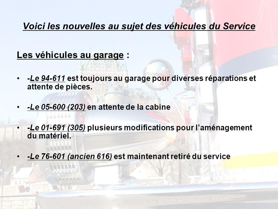 Voici les nouvelles au sujet des véhicules du Service Les véhicules au garage : -Le 94-611 est toujours au garage pour diverses réparations et attente de pièces.